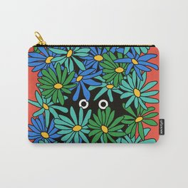 Shy Wallflower - retro botanical, anxiety, awkward, red, blue, green, flowers, daisies, 60s, 7 Carry-All Pouch
