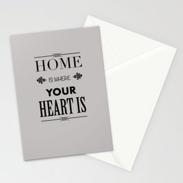 Home Heart grey - Typography Stationery Cards