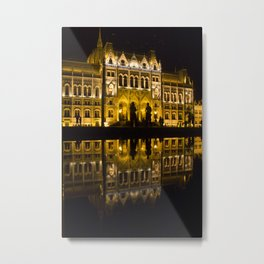 Budapest Parliament by Night Metal Print