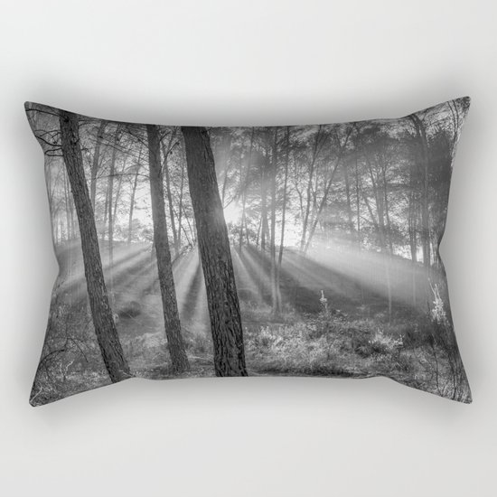 """""""Sunrise through the foggy forest"""". Forest dreams. Mono Rectangular Pillow"""