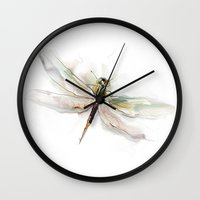dragonfly Wall Clocks featuring dragonfly by tatiana-teni