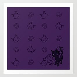Blackberry Kitty Art Print