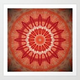 Dark Orange Mandala Design Art Print