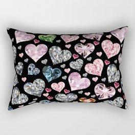 Heart Diamonds are Forever Love Black Rectangular Pillow