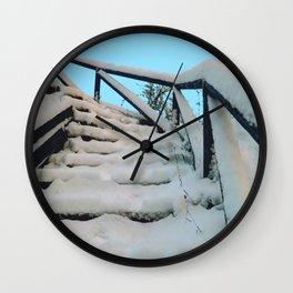 Snowy stairway Wall Clock