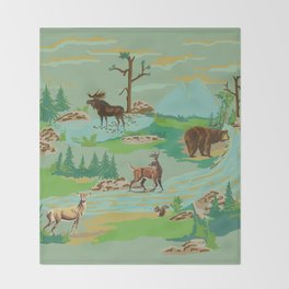 Paint by Number Woodland Animals Throw Blanket
