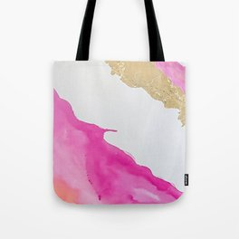 Pink and Gold Watercolor Tote Bag