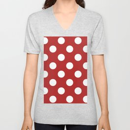Large Polka Dots - White on Firebrick Red Unisex V-Neck