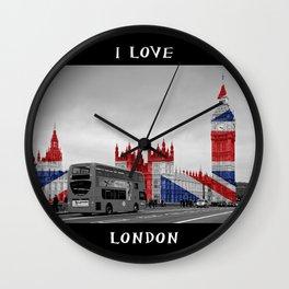 Big Ben, London Bus and Union Jack Flag Wall Clock