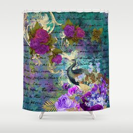 Elegant and Luxurious Colorful Peacock Art Print Shower Curtain