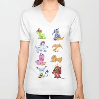 digimon V-neck T-shirts featuring Digimon Group by Catus