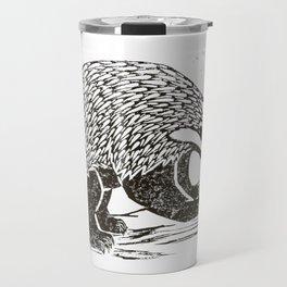 Climbing Badger Lino Print Travel Mug