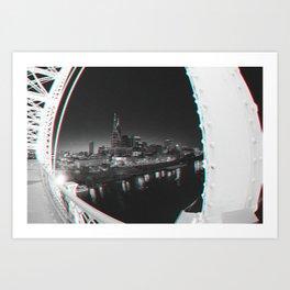 Nashville in black and white 3D Art Print