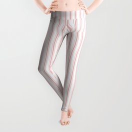 Pink Mellow Rose Mattress Ticking Narrow Striped Pattern - Fall Fashion 2018 Leggings