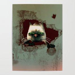 Funny cartoon cat Poster