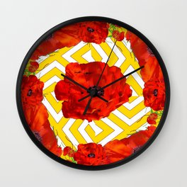 YELLOW CONTEMPORARY ORANGE-RED POPPY PATTERNS Wall Clock