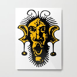24K Gold Fierce Primal Tribal Mask, Wild Mask, Super Smooth Super Sharp 13500px x 10125px PNG Metal Print