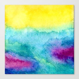 Modern neon yellow blue hand painted watercolor Canvas Print
