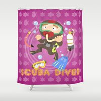 scuba Shower Curtains featuring Scuba dive by Alapapaju