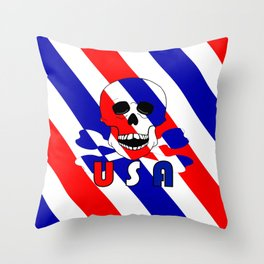 Skull And Bones USA Red White Blue Throw Pillow
