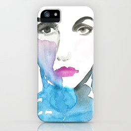 Pink Lipstick: Watercolor painting of woman in turquoise iPhone Case