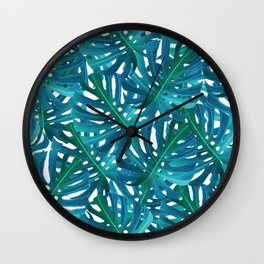 Monstera Swiss Cheese Plant Leaf Toss in Botanical Green Wall Clock