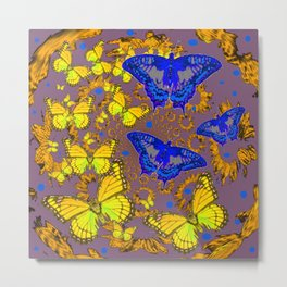 Decorative Blue & Yellow Butterfly Patterns Metal Print