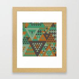 triangles-green-brown-orange-KNIT Framed Art Print