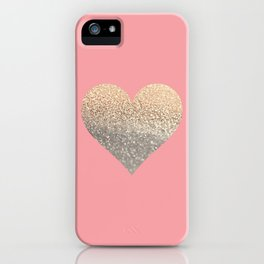 GOLD HEART CORAL iPhone Case