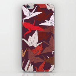 Japanese Origami paper cranes symbol of happiness, luck and longevity, sketch iPhone Skin