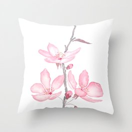 pink cherry blossom macro 2018 Throw Pillow