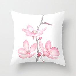 pink cherry blossom macro 2018 Throw Pillow
