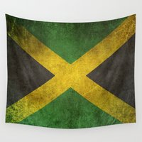 jamaica Wall Tapestries featuring Old and Worn Distressed Vintage Flag of Jamaica by Jeff Bartels