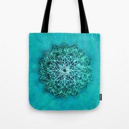 Elegant Turquoise Watercolor Mandala Tote Bag