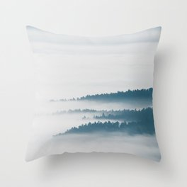 DIsappearing hills in fog Throw Pillow