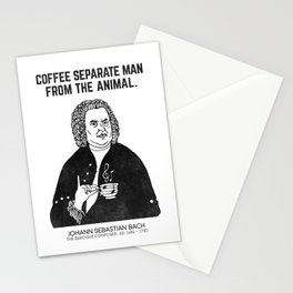 Coffee separate man from the animal. Stationery Cards