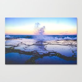 reflection of a wave crashing at sunset Canvas Print