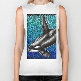 Orca killer whale and ocean Biker Tank