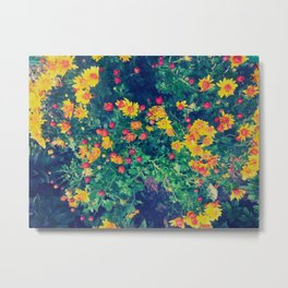 Vibrant floral blossoming in yellow, green, blue and red Metal Print