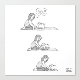 Mochi the pug on yoga mat Canvas Print