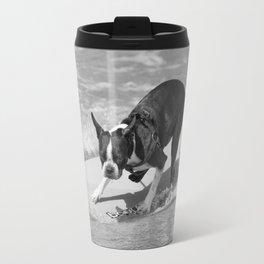 Boston Terrier Surfing the Waves Travel Mug