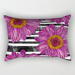 Pink Ink Flowers on Black & White Stripes Rectangular Pillow