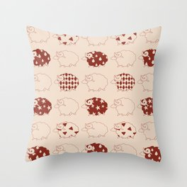 Red and Brown Kawaii Sheep Patterns Throw Pillow