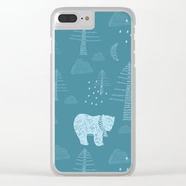 Bear in the Woods at Night Clear iPhone Case