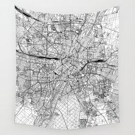 Munich White Map Wall Tapestry