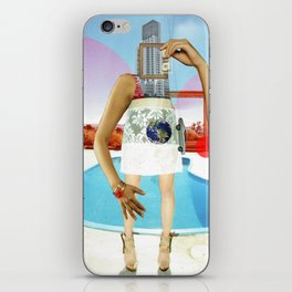 the crazy woman and the world of consumption iPhone Skin