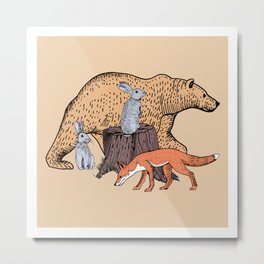 Forest animals bear, fox and rabbits Metal Print