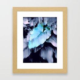 Blue Lush Foliage Glitch Framed Art Print