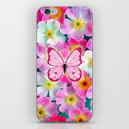 Butterfly and Flowers iPhone Skin