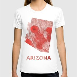 Arizona map outline Red Pink streaked wash drawing T-shirt